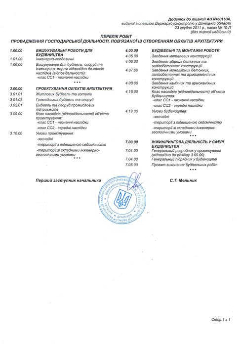 Лицензия на хозяйственную деятельность, связанную с созданием архитектурных объектов (приложение)